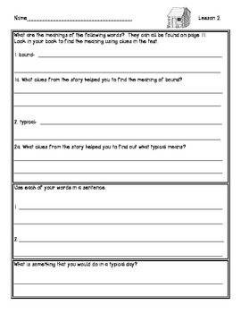 Ready Gen Worksheets Unit 5B Lessons 1-12: Seed by Seed / Going West