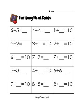 Ready Math: Fact Fluency 10s and Doubles