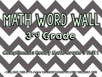 Ready Math 3rd Grade Vocabulary Word Wall Cards