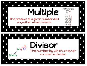 Ready Math Grade 4 Unit 3 Vocabulary B&W with BONUS poster