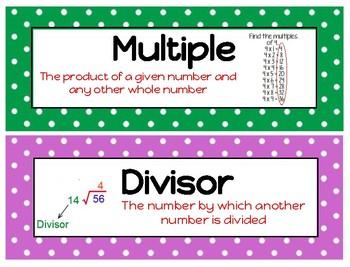 Ready Math Grade 4 Unit 3 Vocabulary Word Wall Division