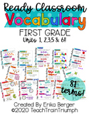 Ready Math VOCABULARY CARDS for First Grade