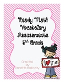 Ready Math Vocabulary Assessments 5th Grade