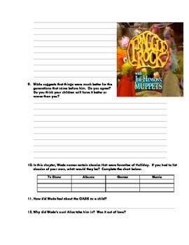 Ready Player 1: Reading Questions, Activities.  Chapter 1-7 (until first gate)