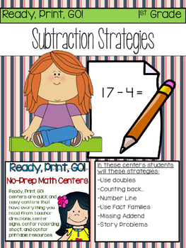 Ready, Print, GO! Math Centers Subtraction Strategies to 20 (first grade)