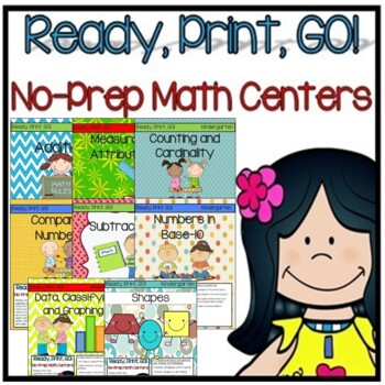 Ready, Print, GO! No Prep Math Center Bundle (Kindergarten)