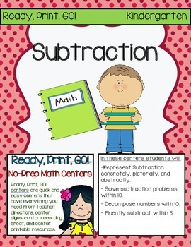 Ready, Print, GO! No-Prep Math Centers: Subtraction