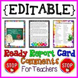 Ready Report Card Comments for Teachers {EDITABLE} {The Teacher Stop}