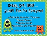 Ready, Set, BOO!  Monster Theme Editable Game board, Cards, Spinners & Pawns!