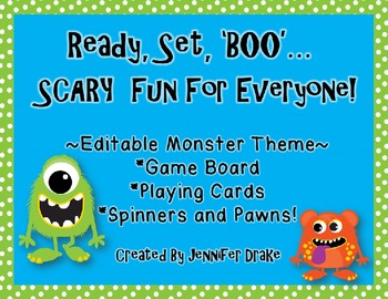 Ready, Set, BOO!  Monster Theme Editable Game board, Cards