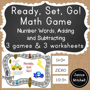 Ready Set GO! Math Game for K-3 Additon, Subtraction or Number Words