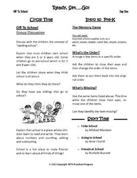 Back to School Ready Set Go {5-day Thematic Unit}