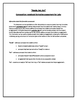 """""""Ready, Set, Go!"""" Formative assessment for Labs in Science"""