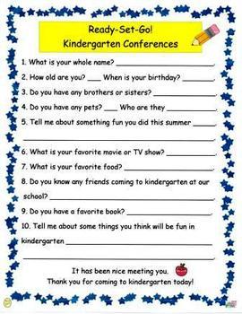 Ready Set Go Kindergarten Conference Student Survey