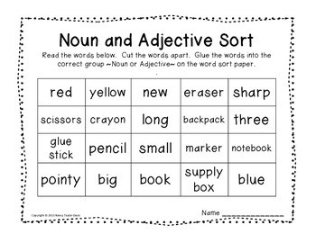 Ready, Set, Learn!  A Back to School Themed Noun & Adjective Activity