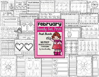 Ready, Set, Print: February Math and Literacy Printables