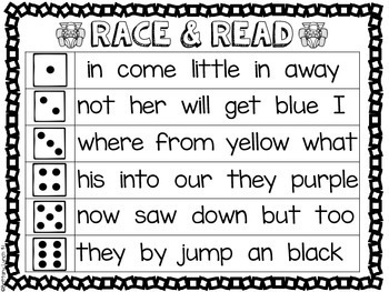 Race and Read Fluency Game