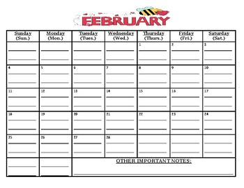 Ready To Go: February 2018 calendar (MUST print out/write on lines yourself)
