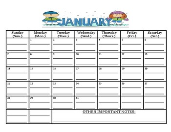 Ready To Go: January 2018 calendar (MUST print out/write on lines yourself)
