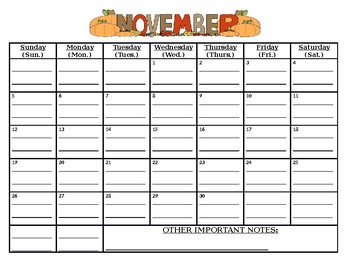 Ready To Go: November 2017 calendar (MUST print out/write on lines yourself)