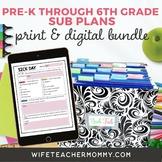 Ready To Go Sub Plans Pre-K through 6th Grade Print + Google Slides MEGA Bundle