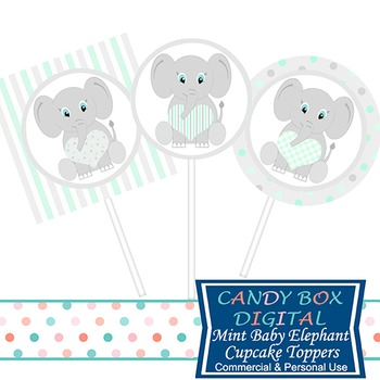 Ready-To-Print Mint Green Baby Elephant Cupcake Toppers or Stickers