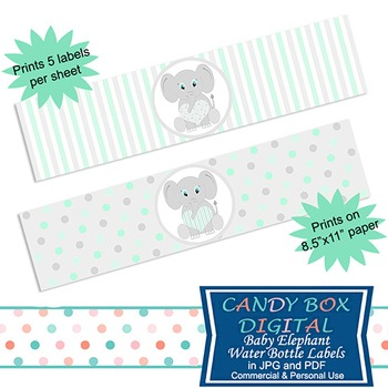 Ready-To-Print Mint Green Baby Elephant Water Bottle Labels or Napkin Wraps