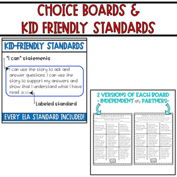 Reading Comprehension Passages, Assessments, Standards, and Choice Boards