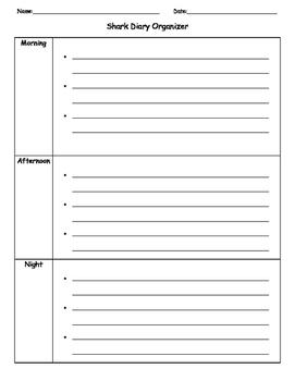 Ready Writing Shark Diary Graphic Organizer