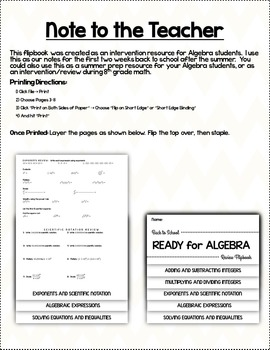 Ready for Algebra Back to School Review Flip Book