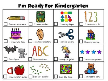 Ready for Kindergarten Goal Sheet