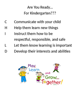 Ready for Kindergarten easy to use parent presentation