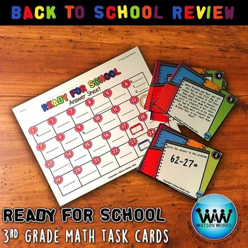Ready for School: Back to School 3rd Grade Math Review Task Cards