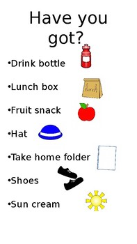 Ready for School Chart/Checklist For Parents