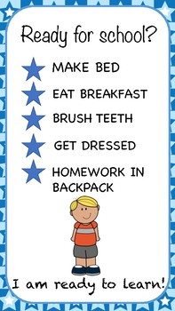 Ready for School Routine Morning Checklist for Parents