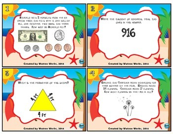 Ready for Summer End-of-the-Year 2nd Grade Math Review Task Cards
