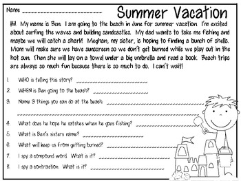 Ready for Summer Vacation?  Literacy & Math Printables