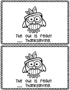 Ready for Thanksgiving~ emergent reader