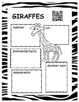 Ready for the Zoo Graphic Organizers and QR Codes