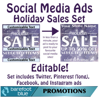 Ready in One-Minute Social Media Sales Ads, Holiday Set 3 With Snow