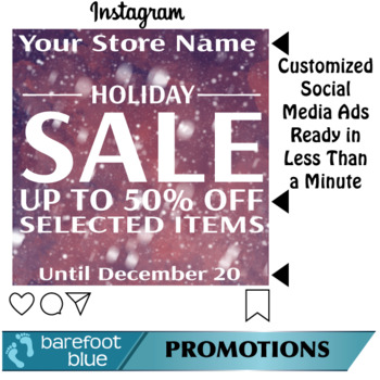 Ready in One-Minute Social Media Sales Ads, Holiday Set 4 With Snow