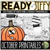 October: Ready in a Jiffy! (Math + Literacy NO PREP Printables for K-1)