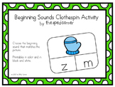 Clip and Go! Beginning Sounds PreK K Centers; Autism Special Needs