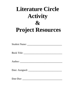 Ready to Go Literature Circle Activity and Project Resources