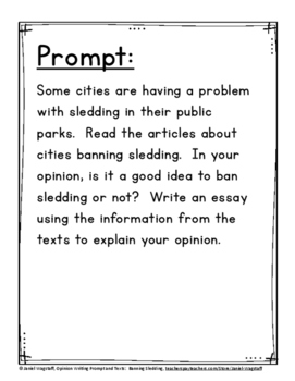 Ready-to-Go Winter Opinion Writing Prompt Task, Opinion Texts, Objectives Gr 3-5