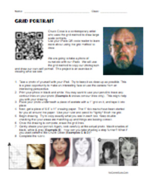 Ready to Go Self Portrait Grid Lesson! Handout, Rubric, and Grids!