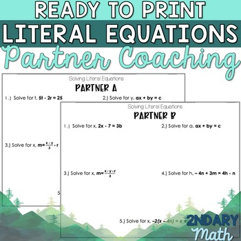 Ready to Print Literal Equations Partner Coaching Activity