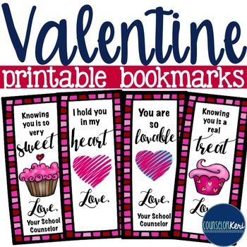 Valentine's Day Bookmarks/Cards - School Counseling
