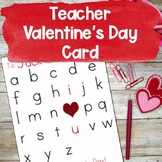 Ready to Print Valentine's Card | Teacher Card | Print and Go | Valentine's Day