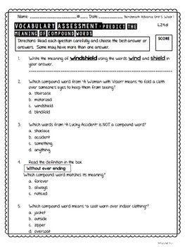 Ready-to-Print Vocabulary Quizzes for Benchmark Advance Grade 2 UNITS 5 & 6